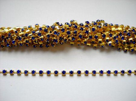 Strasszlánc - 3,2 mm - királykék -arany - 25 cm