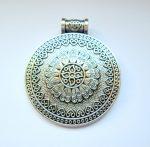 Virágmintás antik ezüst fémveret - 42x36 mm