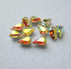 Swarovski kristály csepp - pear - 10*6 mm - crystal AB - foglalattal - SF