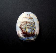Porcelán kaboson - 40*30 mm - hajók 2#