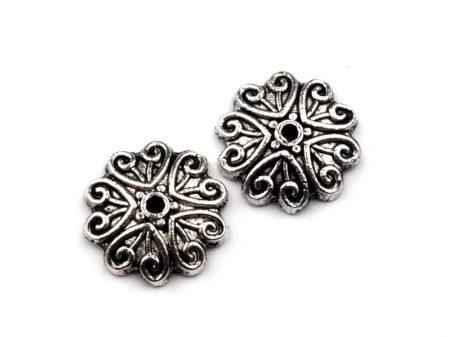Antik ezüst gyöngykupak - 12 mm