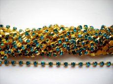 Strasszlánc - 3,2 mm - blue zircon -arany - 25 cm