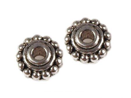 Fémgyöngy - antik ezüst - 7 mm