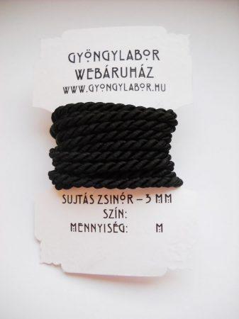 Sujtás zsinór - 2,8 mm - sodrott - fekete (#7001)