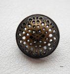Kerek virágmintás fémgomb - 15 mm - antik bronz