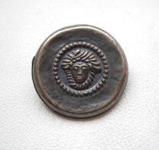 Kerek medúzafejes fémgomb - 20 mm - antik ezüst