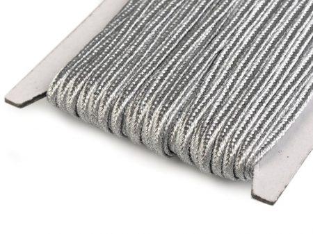 Sujtás zsinór - 3  mm - metál - ezüst
