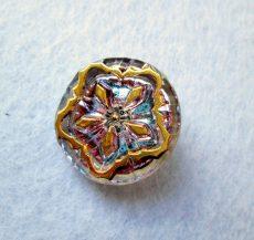 Kézzel festett cseh irizáló üveggomb -vitrail light - pókháló mintás