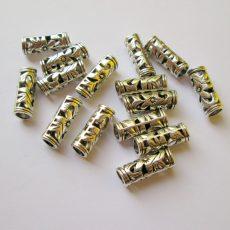 Fémgyöngy - antik ezüst - 32x8 mm - filigrán henger