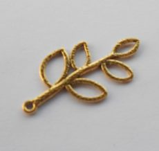 Feather charm - 38*20 mm - antique gold