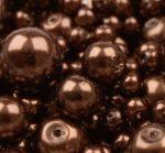 Cseh üveg tekla gyöngy - 10 mm - 10 db/cs - kávébarna