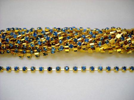 Strasszlánc - 3,2 mm - égszínkék -arany - 25 cm