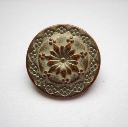 Virágmintás fémgomb - 20 mm - patina