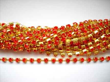 Strasszlánc - 2,8 mm - hyachint  -arany - 25 cm