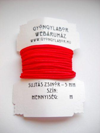Sujtás zsinór - 3 mm - fényes - piros (#3)