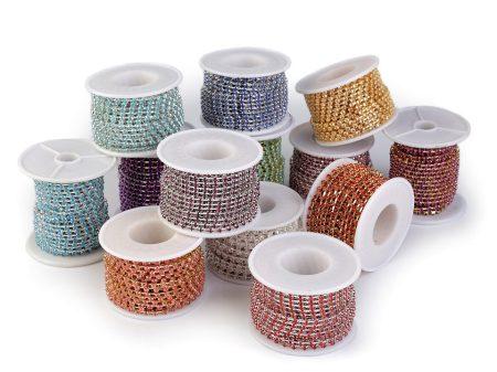 Strasszlánc - 2,8 mm - crystal -ezüst - 25 cm