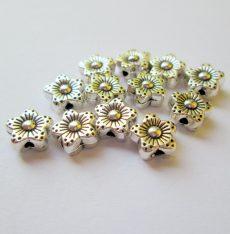 Fémgyöngy  - 8 mm - antik ezüst virág