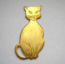 Macska - sárgaréz veret - 40*20 mm