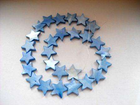 Gyöngykagyló csillag - égszínkék - 16 mm