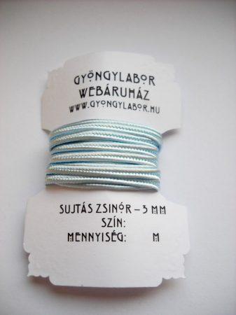 Sujtás zsinór - 3 mm - fényes - halvány kék (#38)