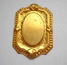Brooch base - brass stamping- 40x26 mm (22x14 mm stones)