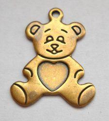 Teddybear  - brass stamping - 20x15 mm