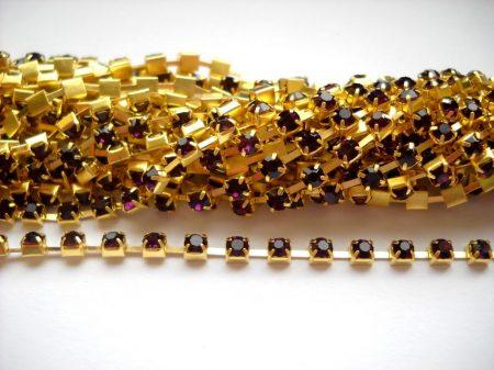 Strasszlánc - 3,2 mm - amethyst -arany - 25 cm