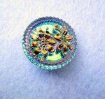 Kézzel festett cseh irizáló üveggomb  - vitrail light-  virágmintás
