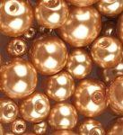 Cseh üveg tekla gyöngy - 12 mm - 4 db/cs - világos bronz