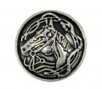 Kelta ló motívumos (szkíta) fémgomb - 22 mm - antik ezüst