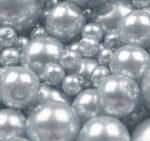 Cseh üveg tekla gyöngy - 12 mm - 4 db/cs - galambszürke