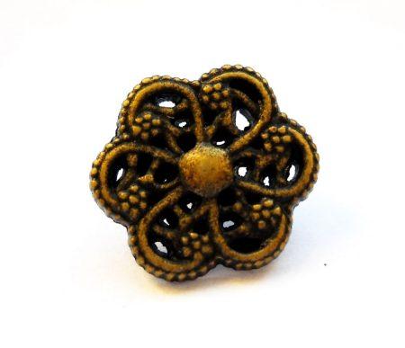 Kerek virágmintás fémgomb - 14 mm - bronz