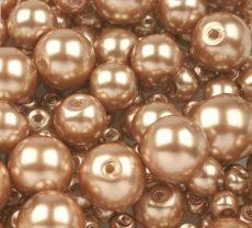 Cseh üveg tekla gyöngy - 8 mm - 20 db/cs - homok