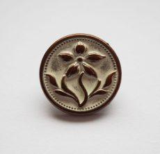 Kerek virágmintás fémgomb - 12 mm - patina