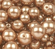 Cseh üveg tekla gyöngy - 10 mm - 10 db/cs - homok