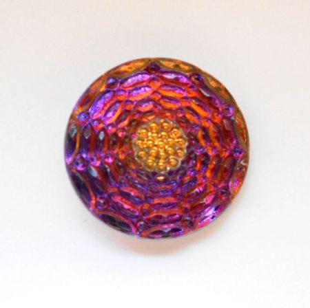 Kézzel festett cseh irizáló üveggomb - volcano - pókháló mintás