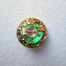 Kézzel festett cseh irizáló üveggomb -speciál - virágmintás