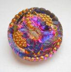 Kézzel festett cseh irizáló üveggomb - volcano - virágmintás