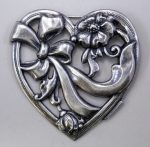 Silver plated heart pendant - 36x36 mm - matte