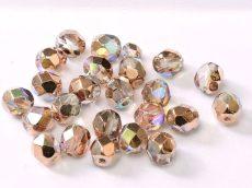 Cseh csiszolt gyöngy - 4 mm - Crystal Copper Rainbow - #98533