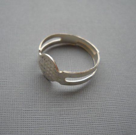 Gyűrűalap - fényes ezüst - állítható