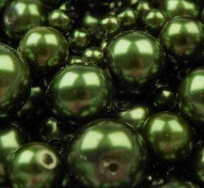 Cseh üveg tekla gyöngy - 6 mm - 25 db/cs - fenyő