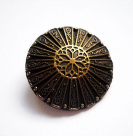 Kerek virágmintás fémgomb - 18 mm - antik bronz