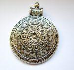Virágmintás antik ezüst fémveret - 50x35 mm