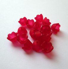 Lucite virágkehely gyöngy, harangvirág  - 10x6 mm - piros