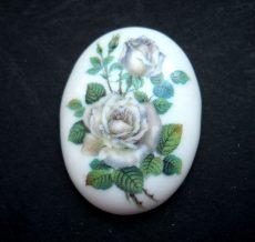 Porcelán kaboson - 40*30 mm - rózsák 7#