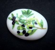 Porcelán kaboson - 40*30 mm - oliva