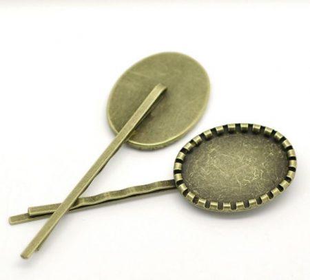 Hajcsatt alap 70x22 mm - bronz -25x18-as kabosonhoz