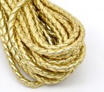 Faux leather braided cord 0.5 m - gold