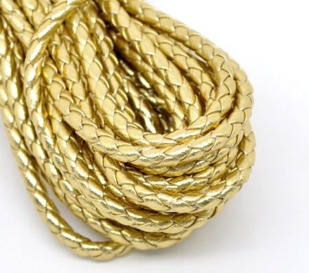Arany fonott műbőr szíj 4mm -  50 cm